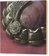 Vintage Brooch With Red Gem Wood Print