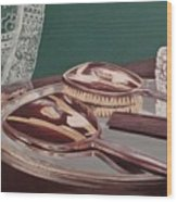Vintage Brush And Comb Set Wood Print by Kathy Weidner