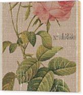 Vintage Burlap Floral 2 Wood Print