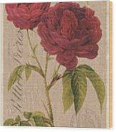 Vintage Burlap Floral 3 Wood Print