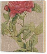 Vintage Burlap Floral Wood Print