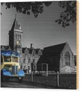 Vintage Bus At Taunton School Wood Print