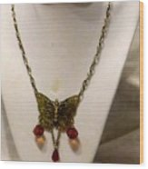 Vintage Butterfly Dreams Necklace Wood Print