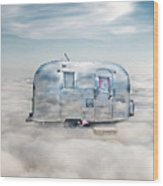 Vintage Camping Trailer In The Clouds Wood Print