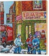 Vintage Candy Store Classic Coca Cola Truck Winter Scene Hockey Art Canadian Art Carole Spandau      Wood Print
