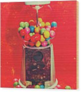 Vintage Candy Store Gum Ball Machine Wood Print