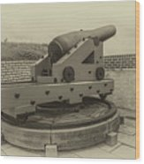 Vintage Cannon At Fort Moultrie Wood Print