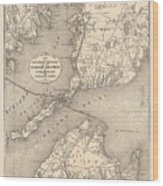 Vintage Cape Cod Old Colony Line Map  Wood Print
