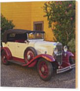 Vintage Car In Funchal, Madeira Wood Print