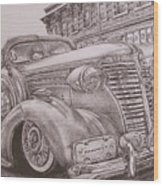 Vintage Car On The Street Wood Print