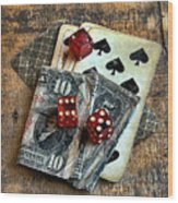 Vintage Cards Dice And Cash Wood Print