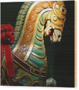 Vintage Carousel Horse Wood Print