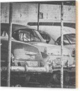 Vintage Cars At Night Bw Wood Print