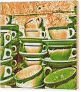 Vintage Cellar Tea Cups Painterly Wood Print