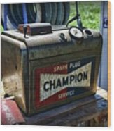 Vintage Champion Spark Plug Cleaner Wood Print