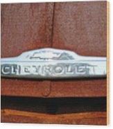 Vintage Chevy Truck Emblem Wood Print