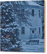 Vintage Christmas Church In Vermont Wood Print