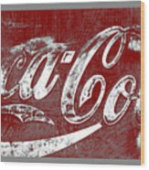 Coca Cola Red And White Sign Gray Border With Transparent Background Wood Print