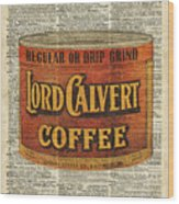 Vintage Coffee On Dictionary Page Wood Print