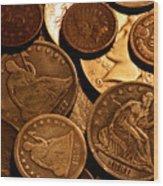 Vintage Coins Wood Print