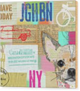 Vintage Collage Chihuahua Wood Print