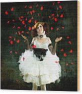 Vintage Dancer Series Raining Rose Petals  Wood Print by Cindy Singleton