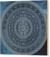 Vintage Denim Mandala Wood Print