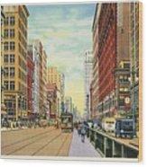 Vintage Detroit Woodward Avenue Wood Print