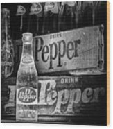 Vintage Dr Pepper In Black And White Wood Print