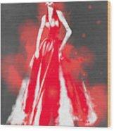 Vintage Dress Red Ball Gown - By Diana Van Wood Print