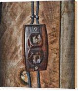 Vintage Electrical Outlet Wood Print
