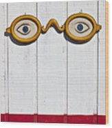 Vintage Eye Sign On Wooden Wall Wood Print