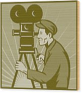 Vintage Film Camera Director Wood Print by Aloysius Patrimonio