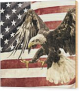 Vintage Flag With Eagle Wood Print