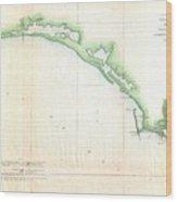 Vintage Florida Panhandle Coastal Map - 1852 Wood Print