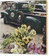 Vintage Flower Truck-nantucket Wood Print