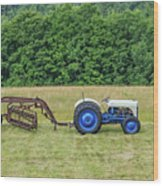 Vintage Ford Blue And White Tractor On A Farm Wood Print