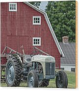 Vintage Ford Farm Tractor With Red Barn Wood Print