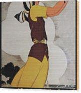 Vintage French Art Deco Woman Golfer, Flapper Woman Golfing Wood Print