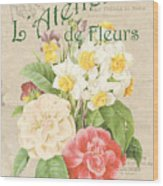 Vintage French Flower Shop 1 Wood Print