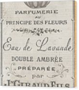 Vintage French Perfume Sign Wood Print