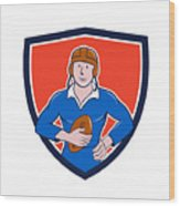 Vintage French Rugby Player Holding Ball Crest Cartoon Wood Print