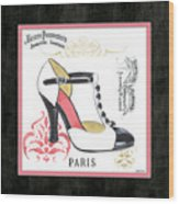 Vintage French Shoes 1 Wood Print