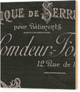 Vintage French Typography Sign Wood Print