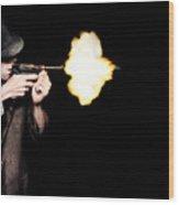 Vintage Gangster Man Shooting Gun On Black Wood Print