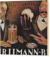 Vintage German Beer Advertisement, Friends Drinking Bier Wood Print