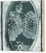 Vintage Glass Cyanoplate Dahlias Wood Print