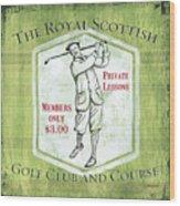 Vintage Golf Green 1 Wood Print