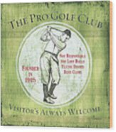 Vintage Golf Green 2 Wood Print