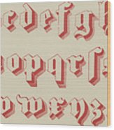 Vintage Gothic Font Red Wood Print